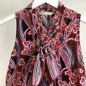 Trina Turk Floral Silk Tie-Neck Sleeveless Top